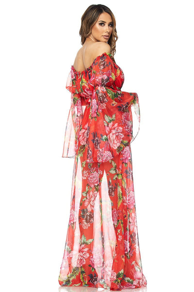 Kim Off Shoulder Chiffon Floral PrintDress