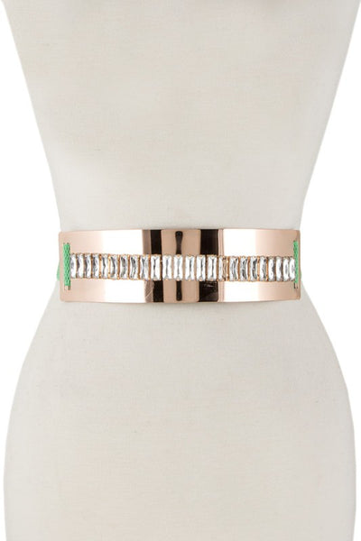 Faceted rectangle crystal accent elastic belt