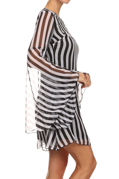 Long Bell Sleeve Mini Dress.