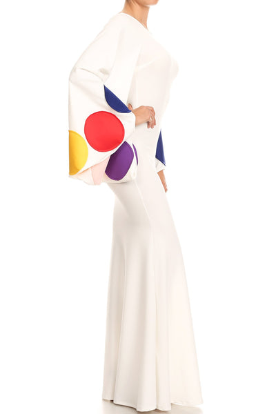 Marcia Multi-Colored Dot Print Long Sleeve Maxi Dress