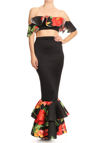 Floral printed 2-piece coordinate set with off shoulder flounce bar