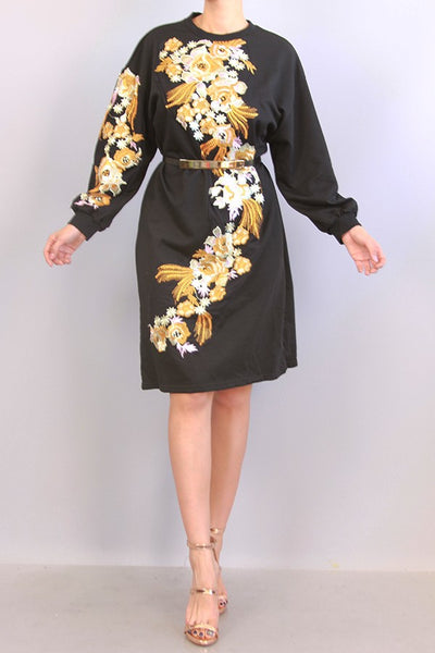Embroidered Flower  Long Sleeves Dress
