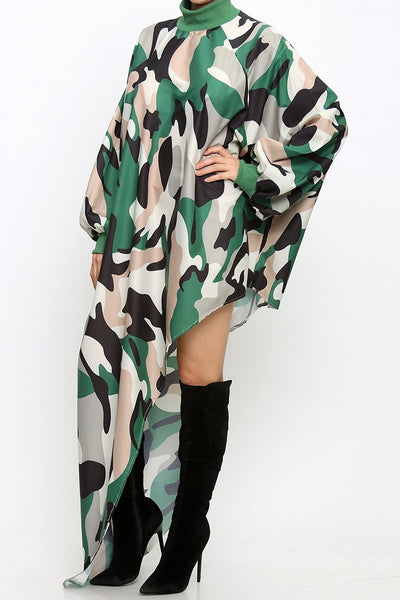 Shamere Loose Fit Turtle Neck Camo Dress