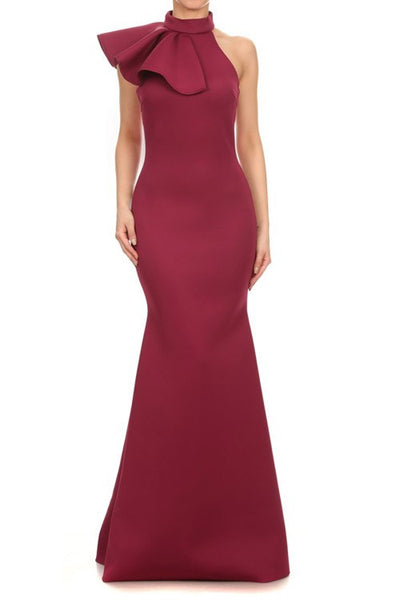 Mermaid Silhouette Dress With Mock Neck