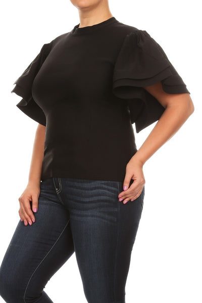 BUTTERFLY RUFFLE SLEEVE TOP