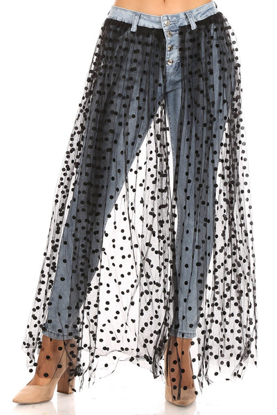 Quad Skinny Denim Jeans With Polka Dot Mesh Skirt Overlay