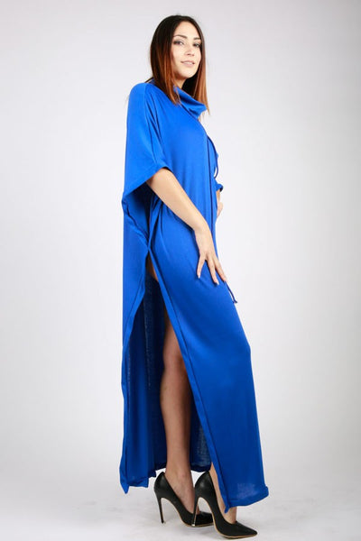 Short sleeve Side slit mxi dress