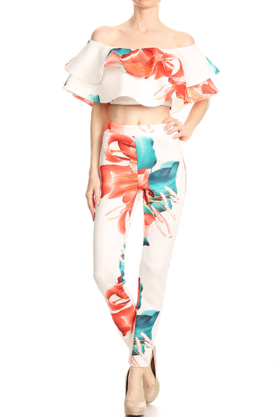 Floral printed top and pants set