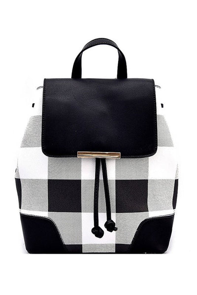 Checker Plaid Draw String Fashion Backpack