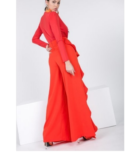 Martina Front Ruffle Slit Wide Pants