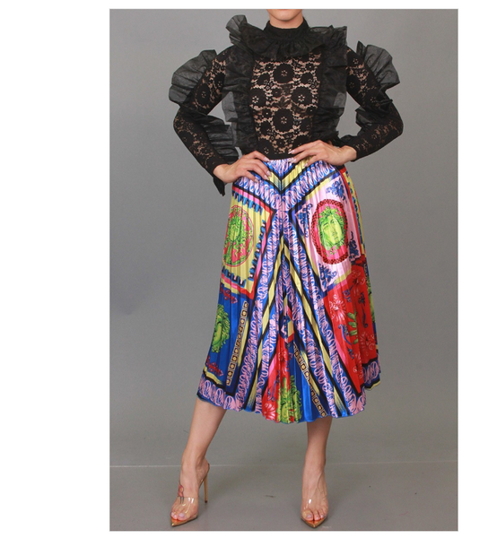 Brittany Multi Printed Pleated Skirt