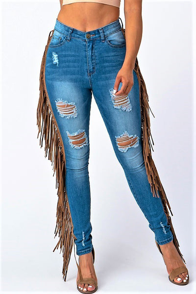 Mimi Destroyed Skinny Denim With leather Tassel Pants