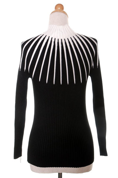 Black/White knit Long Sleeve top
