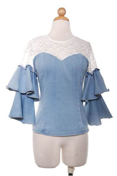 Lace Denim Top With Layered Sleeves