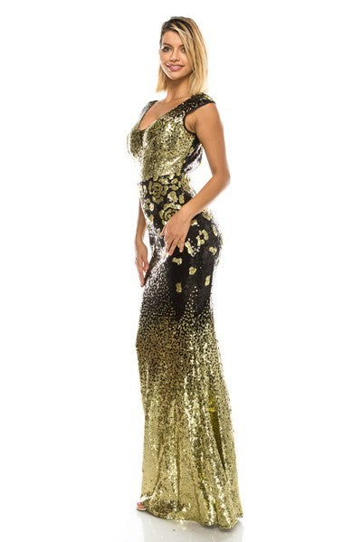 Rose Sequin  Party Gown