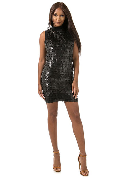 Marie Scalloped Leather Mini Dress