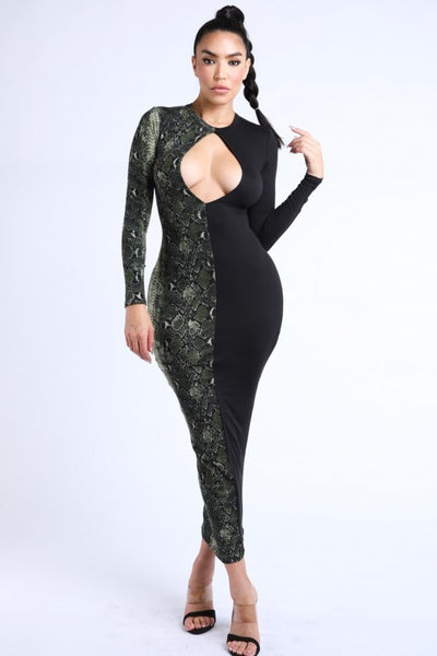 Justie Front Key Hole Half Snake Print Dress