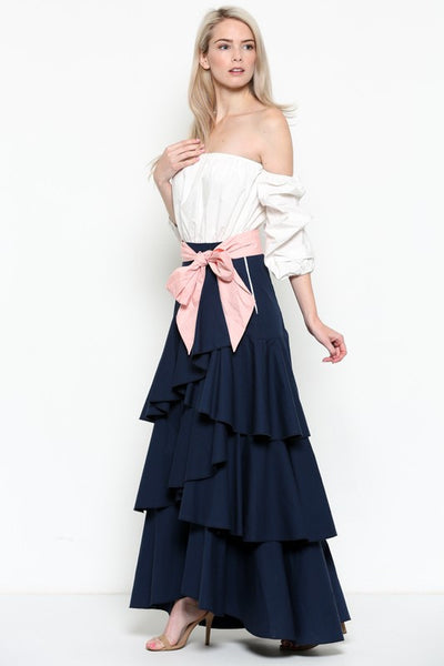 Off Shoulder Ruffle Detailed Dress