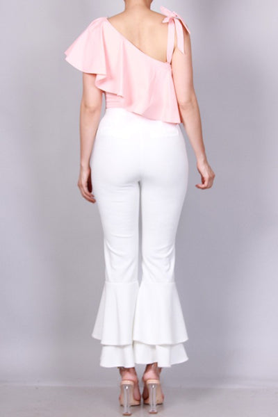 HIGH WAIST RUFFLE BOTTOM PANTS