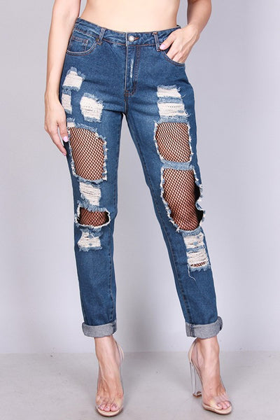 Boyfriend Jean Rigid With Fishnet Insert