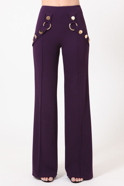 Marceline High Waist Pants With Gold And Ring Detail