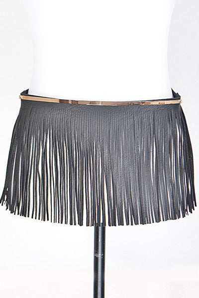 Trendy Solid Belt With Fringes