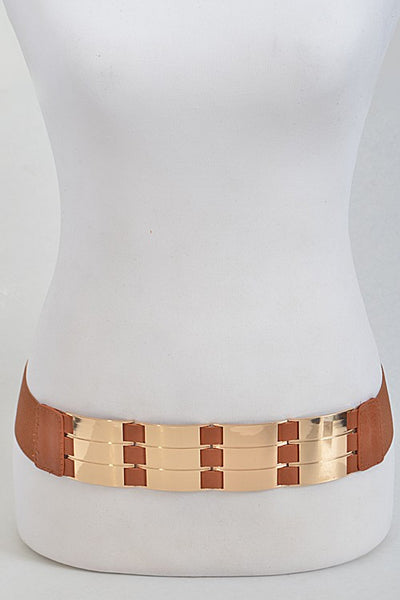 Rectangle Patterned Shiny Thick Belt