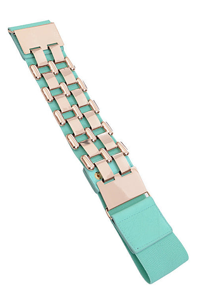 Checkered Chain Elastic Fashion Belt