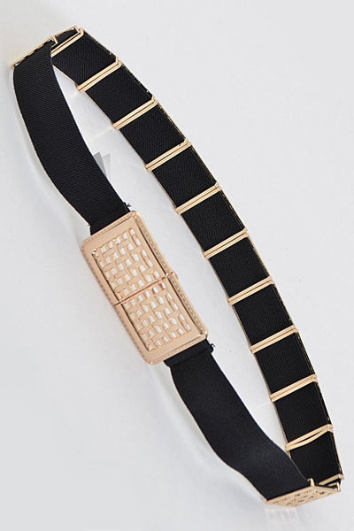 Belt With Multiple Bars And Square Buckle