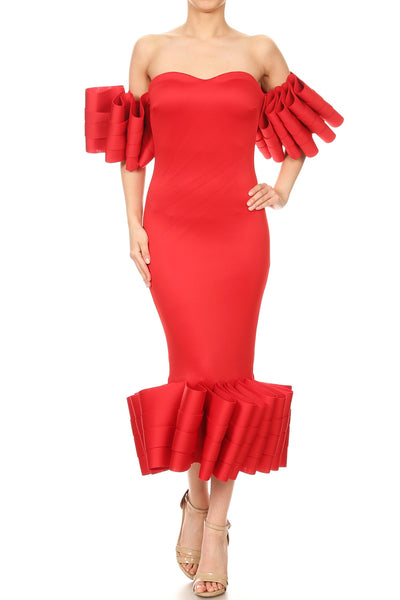 Abigail sweeetheart off shoulder body con dress