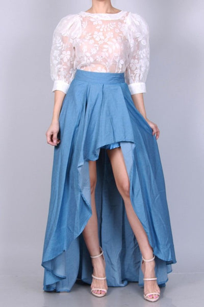 Overlap Ruffle Denim Maxi Skirt