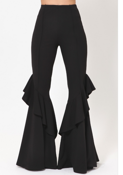 Shane Layered Ruffle Bell Bottom Pants