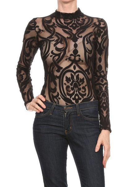 Fashion Printed Long Sleeve Bodysuit