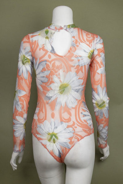 Fashion Floral Printed Lining Long Sleeve Bodysuit