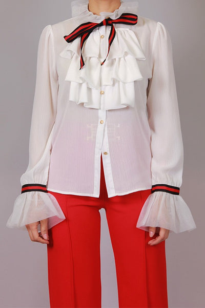 Penny  Red Bow  Ruffle Blouse