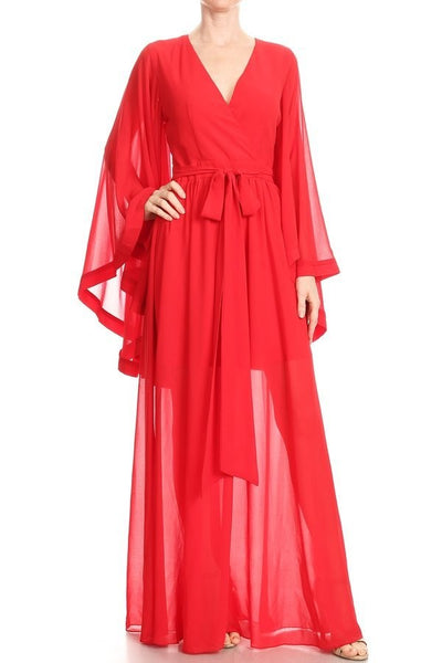 Chiffon a-line maxi dress with long sleeves with sleeve cuffs