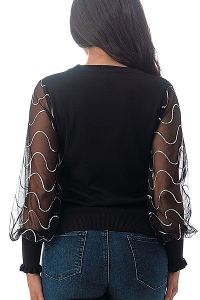 Roe Mesh Sequin Designed Sleeves Blouse