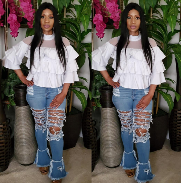 Alicia Bell Legs Destroyed Denim Pants