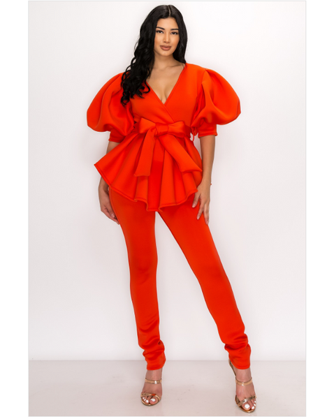 Clementina Puff Sleeves 2 Piece Pants Set