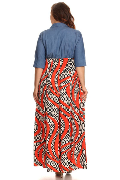 Abstract print, 3/4 sleeve maxi dress