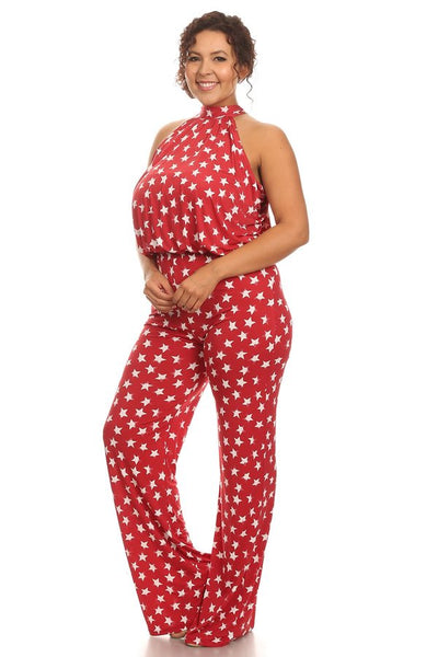 Star print sleeveless relaxed fit wide leg jumpsuit
