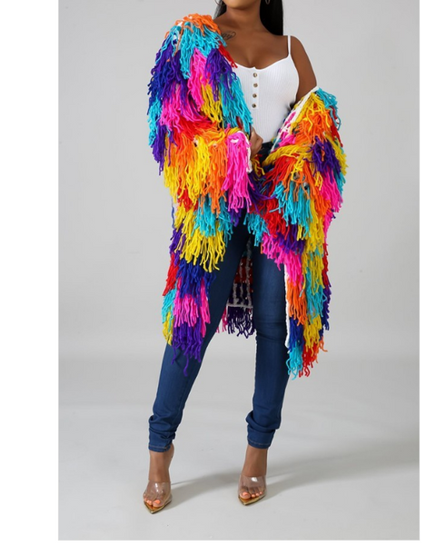January Multi Color Fringe Sweater