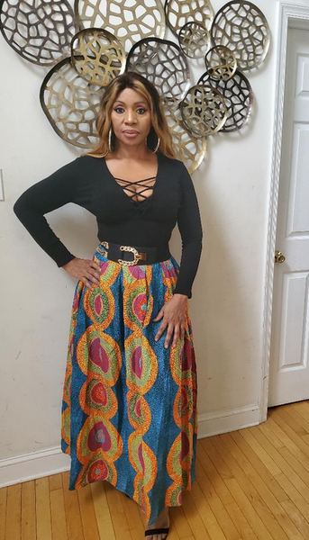Bola Long Pleated african Print Skirt
