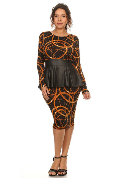 Overlapping circles print knee length dress
