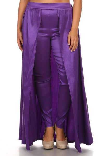 Purple full length slim fit trousers with high banded waist