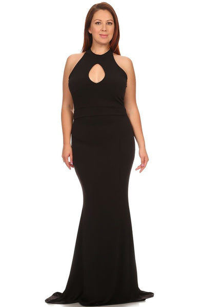 Sleeveless fitted mermaid style maxi dress