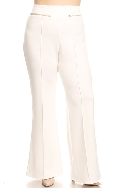High waisted pants in a loose fit with front zip