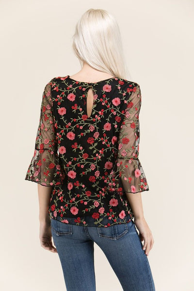 Mesh Top With Floral Embroidery Tunic With 3/4 Bell Sleeves