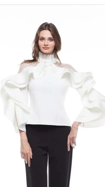 Jackie Ruffle Design With Mesh Fabric top