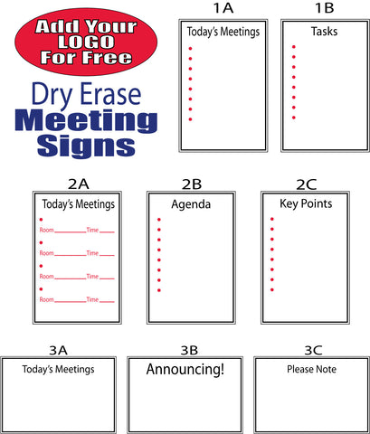 Meeting, Agenda and Task Signs, Dry Erase